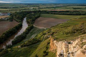 El río Pisuerga desde los cortados de yeso cercanos a Cabezón de Pisuerga. Valladolid. Castilla y León. España © Javier Prieto Gallego;